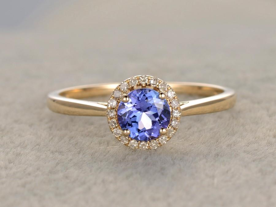 Hochzeit - 1.01ctw Round Tanzanite Engagement ring,VS Diamond Promise Ring,14K Yellow Gold,Halo Bridal Ring,wedding band,Blue Gemstone ring,3A Stone