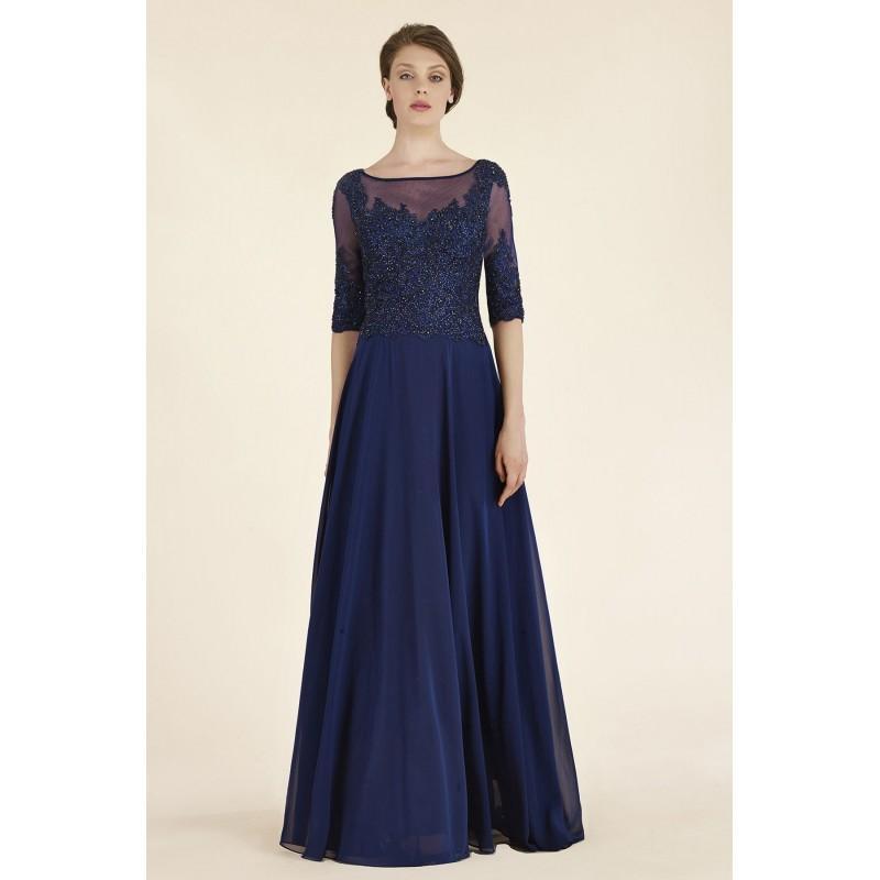 Wedding - Sheath-Column Illusion Floor Length Lace/Chiffon Dark Navy Half Sleeve Zipper Mother Of The Bride Dress Crystals - Top Designer Wedding Online-Shop