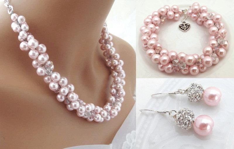 83759be8b528f Chunky Pink Pearl Bridal Jewelry Set, Crystal Pearl Necklace ...