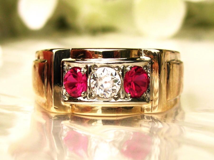Свадьба - Art Deco Ruby & Diamond Ring 0.30ct Old European Cut Diamond Men's Wedding Ring 10K Two Tone Gold Unisex Ring Size 9.5
