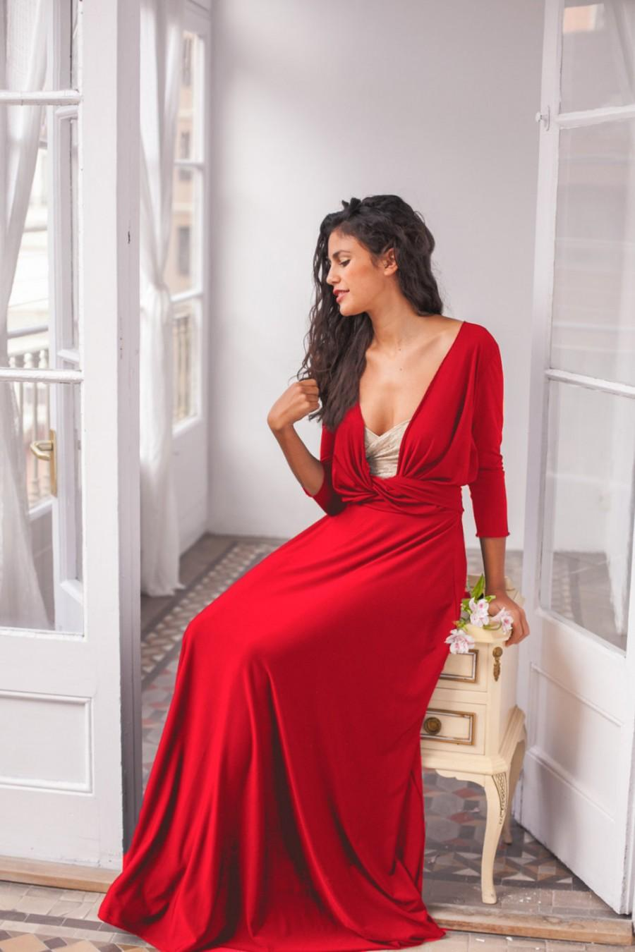 Long Red Wrap Dress Long Red Maxi Dress Red Convertible Long
