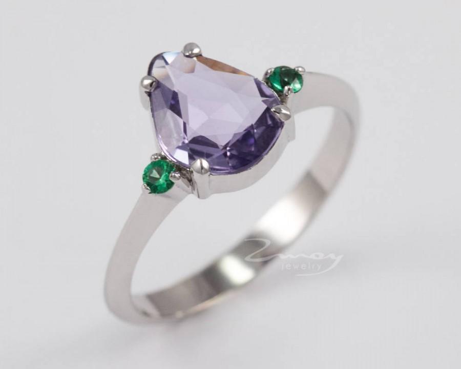 Wedding - Fancy cut sapphire ring,emerald ring,Emerald sapphire Engagement ring,Fancy sapphire ring,one of a kind ring,purple sapphire ring