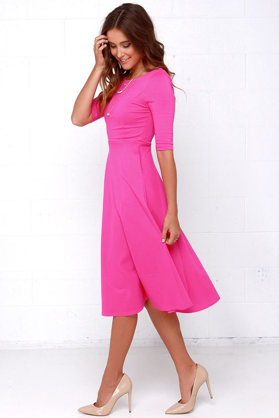 08ecb6cd8a0 Dress - Having A Shindig Hot Pink Midi Dress  2717617 - Weddbook