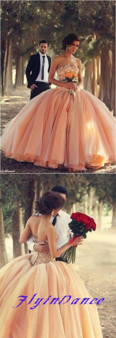 Wedding - Blush Pink Tulle Wedding Dresses Ball Gown 2015 Sweetheart Bridal Gowns With Rhinestones Quinceanera Dresses From FlyinDance