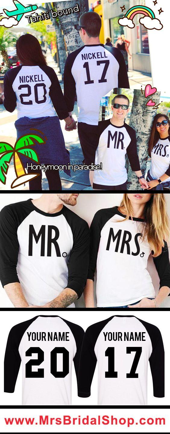 Wedding - MR   MRS Baseball Tees CUSTOM NAMES   NUMBERS - Pick Color