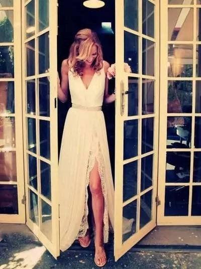 Wedding - Custom Made A-Line V Neck Backless Lace Chiffon Beach Wedding Dresses