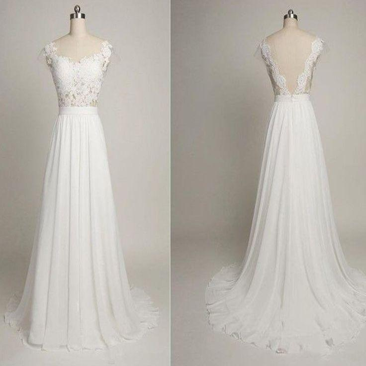 Mariage - Off Shoulder Simple Design Lace Top Tulle Long A-line Wedding Dresses, WD0091