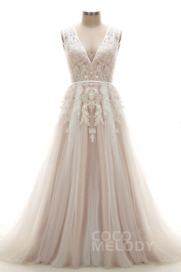 Wedding - Latest A-Line V-Neck Natural Chapel Train Tulle And Lace Ivory/Champagne Sleeveless Open Back Wedding Dress With Appliques And Beading LD3932