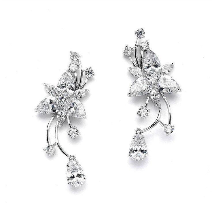 Свадьба - Graceful CZ Vine Wedding Or Prom Earrings With Dangle
