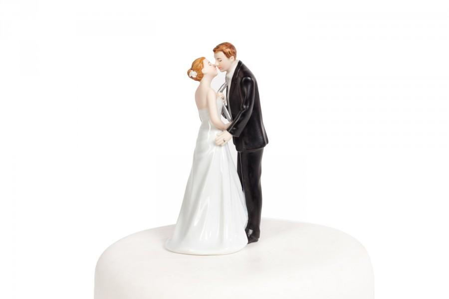 Hochzeit - Tie(ing) the Knot  Funny Wedding Cake Topper - Custom Painted Hair Color Available - 707546
