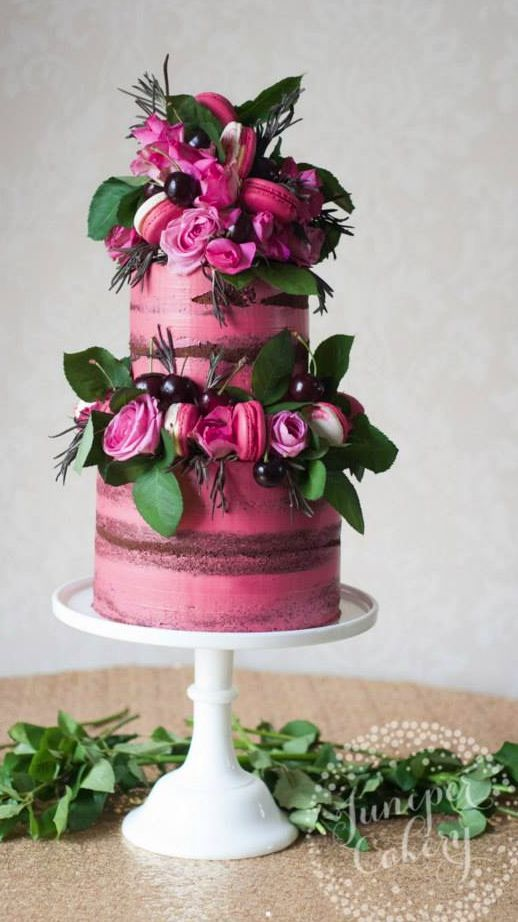 Unique Pink Flower And Macaron Wedding Cake