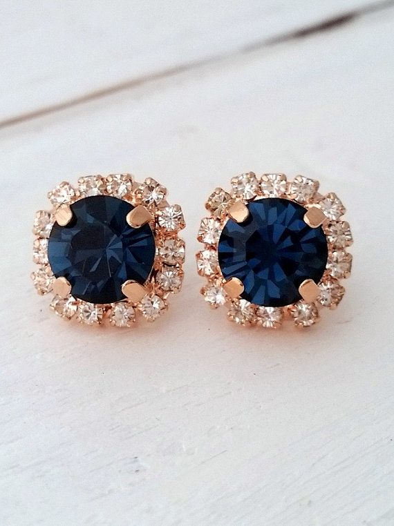 Rose Gold Navy Blue Earrings Navy Blue Bridesmaid Gifts