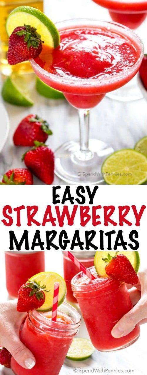 Hochzeit - Easy Strawberry Margaritas