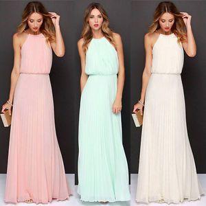 زفاف - Details About Sexy Women's Chiffon Pleated Long Maxi Boho Formal Evening Party Ball Prom Dress