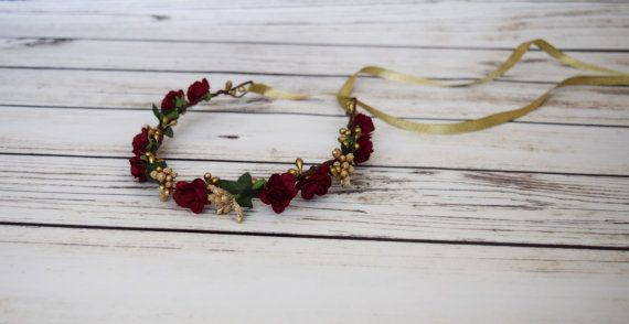 Boda - Hand Crafted Burgundy And Gold Flower Crown - Flower Halo - Bridesmaid Flower Crown - Autumn Flower Crown - Winter Rose - Ribbon Tie Back