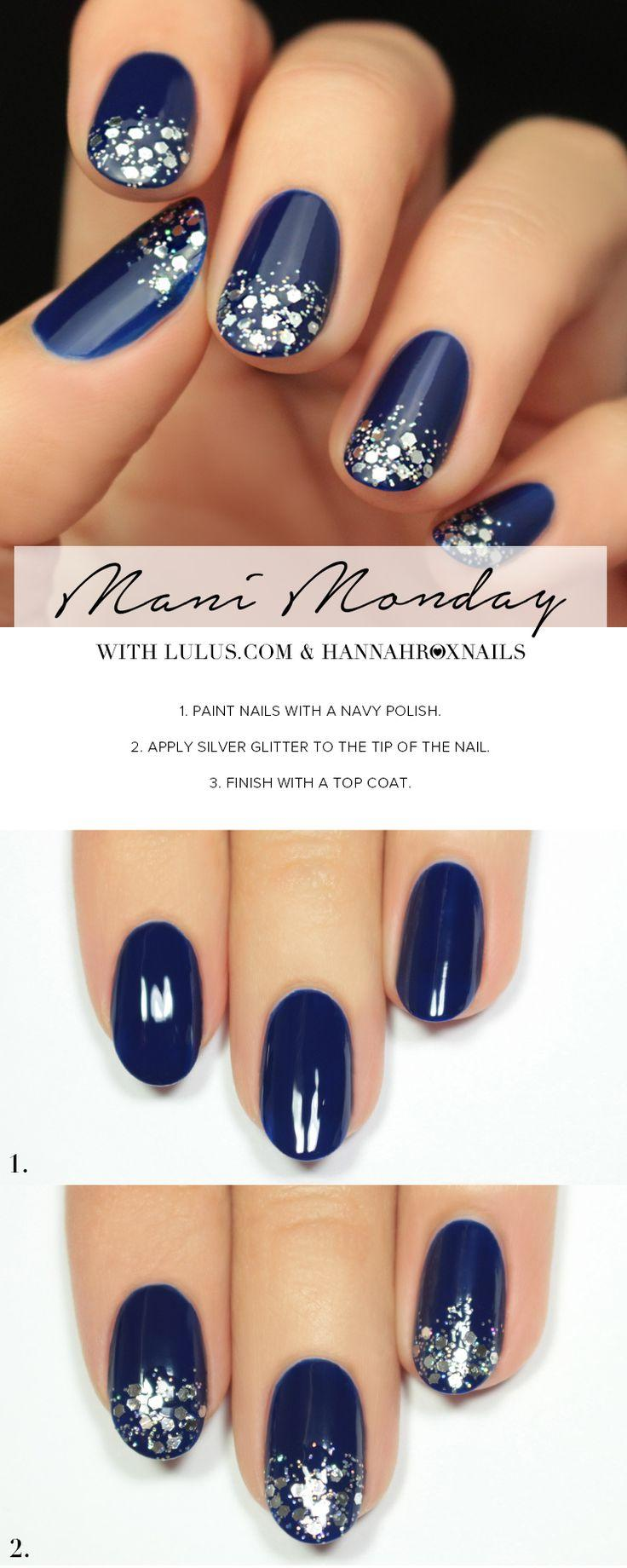 Boda - Mani Monday: Navy Blue And Silver Glitter Nail Tutorial (Lulus.com Fashion Blog)