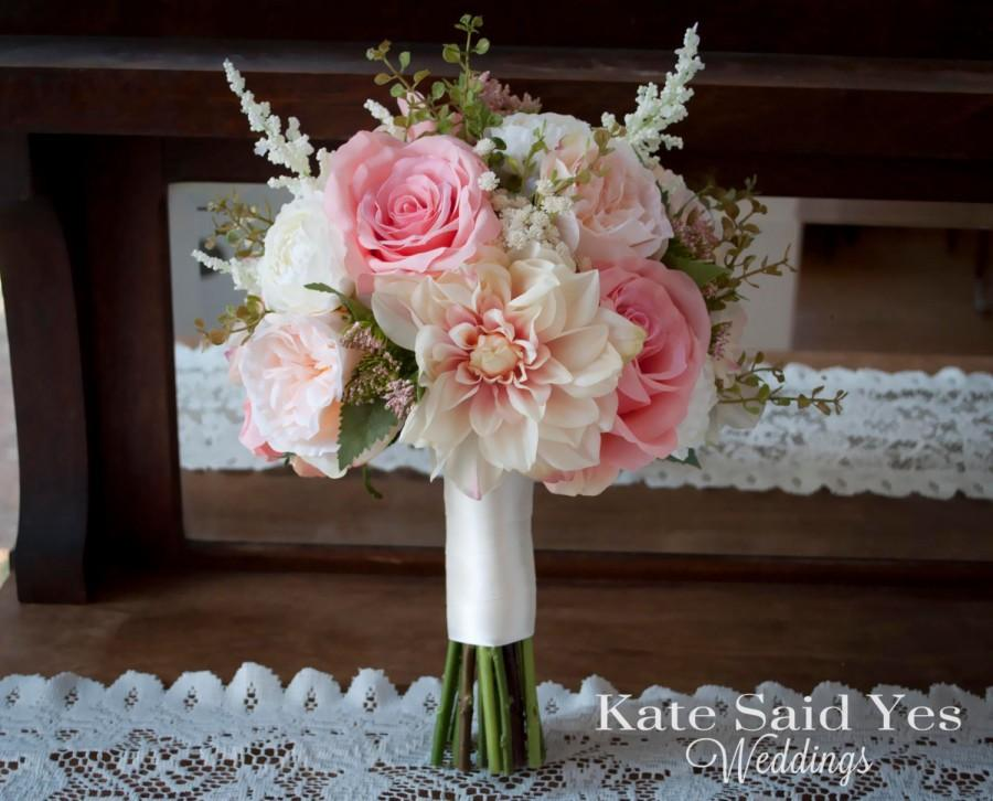 Свадьба - Blush Pink and Ivory Dahlia Garden Rose and Ranunculus Garden Wedding Bouquet - Silk Wedding Bouquet