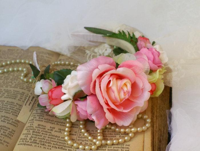 Mariage - Pink Rose Flower Crown Hair Accessories Pink Bridal Floral Crown Autumn Headpiece Frida Kahlo Headband