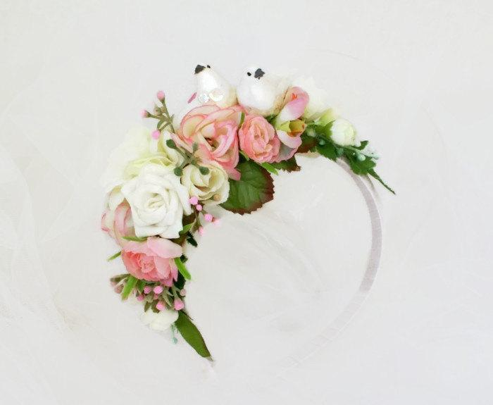 Mariage - White Pink Wedding Floral Headpiece Bridal Headband With Birds Summer Party Festive Floral Crown