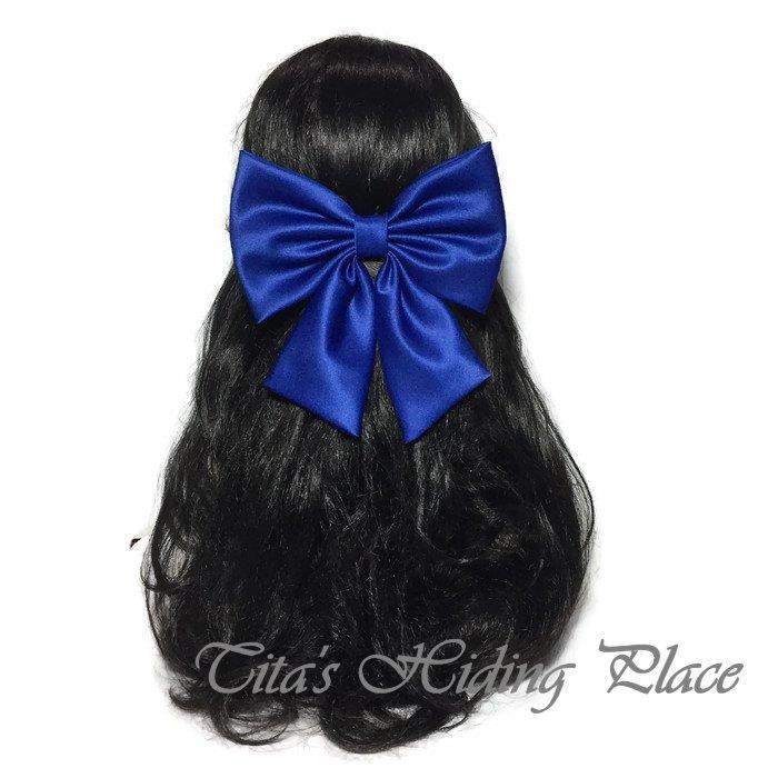 Wedding - Royal Blue Hair Bow, Royal Blue Satin Hair Bow, Wedding Pew Bow, Navy Extra Large Hair Bow, Big Bow, Blue Attachable Bow, Girls Bow ELWT034