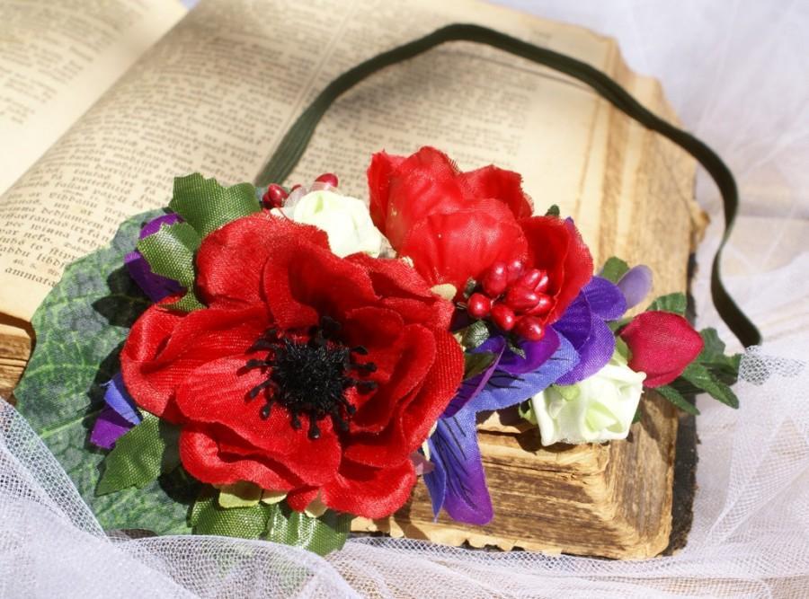Mariage - Red Boho Headband, Bridal Flower Crown, Hair Fashion Accessories, Bridal Hair Wedding, Hair Wreath Boho Head Piece, Valentines Day