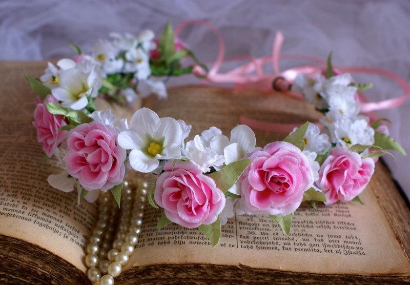 Mariage - Pink Floral Crown Rose Crown Headband Wedding Head Wreath Pink Rose Cherry Blossoms Sakura Flower Girl Bride Bridesmaid Summer Wedding