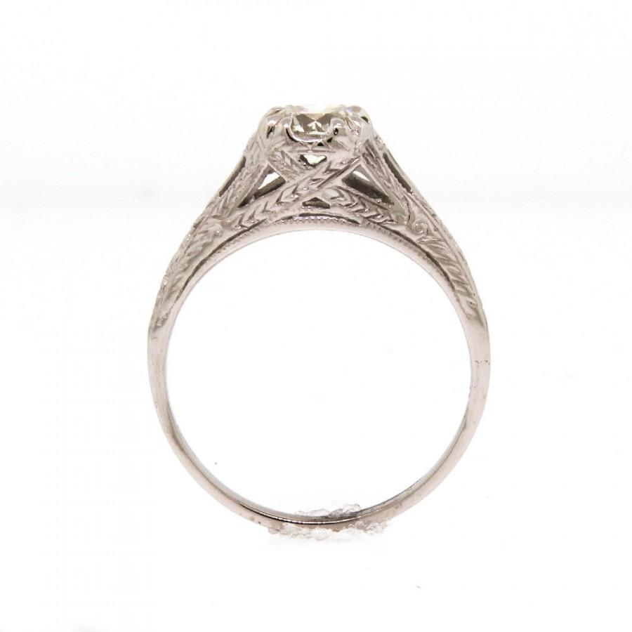 Mariage - Antique 14k White Gold Art Deco Solitaire Engagement Ring Setting Size 6 1/2 Vintage Filagree Fine Jewelry 1920s Wedding & Bridal -Free Ship