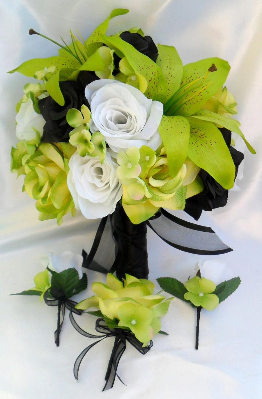 """Mariage - 17 Piece Package Wedding Bridal Bride Maid Bridesmaid Bouquet Boutonniere Corsage Silk Flower WHITE BLACK GREEN """"Lily Of Angeles"""" GRBK01"""