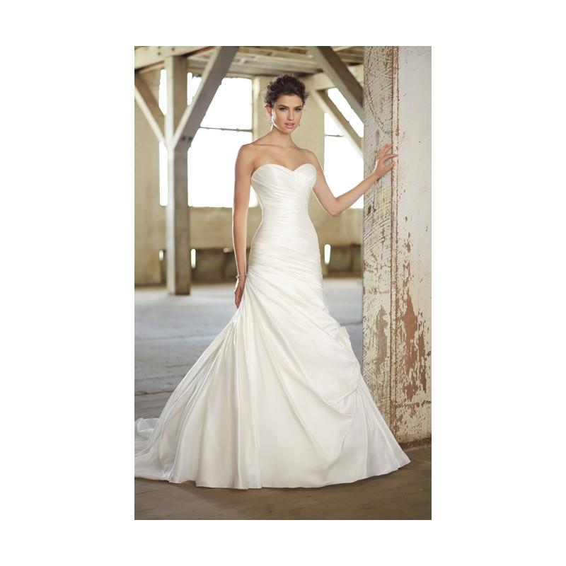 Wedding - Simple A-line Sweetheart Ruching Sweep/Brush Train Satin Wedding Dresses - Dressesular.com