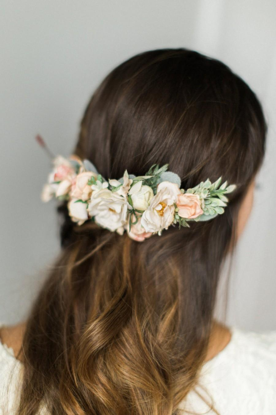 Wedding - Bridal Flower Comb- Blush bridal headpiece- Back Flower Comb- Back Headpiece- Ivory Wedding Hair- Floral Hair Comb- Flower Crown- Circlet