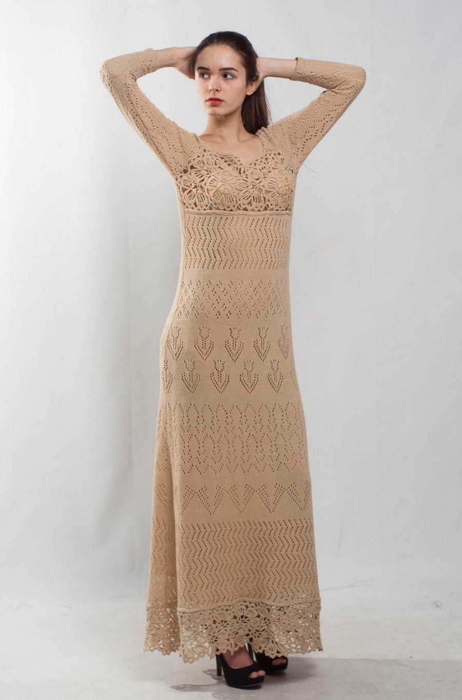 Mariage - Sheath beige crochet dress knIt off shoulder woolen Dress Prom nude Dress evening floor dress cocktail lace Dress maxi bridesmaid nude Dress