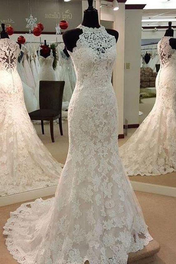 Mariage - Sexy Halter Mermaid Sleeveless Lace Wedding Dress