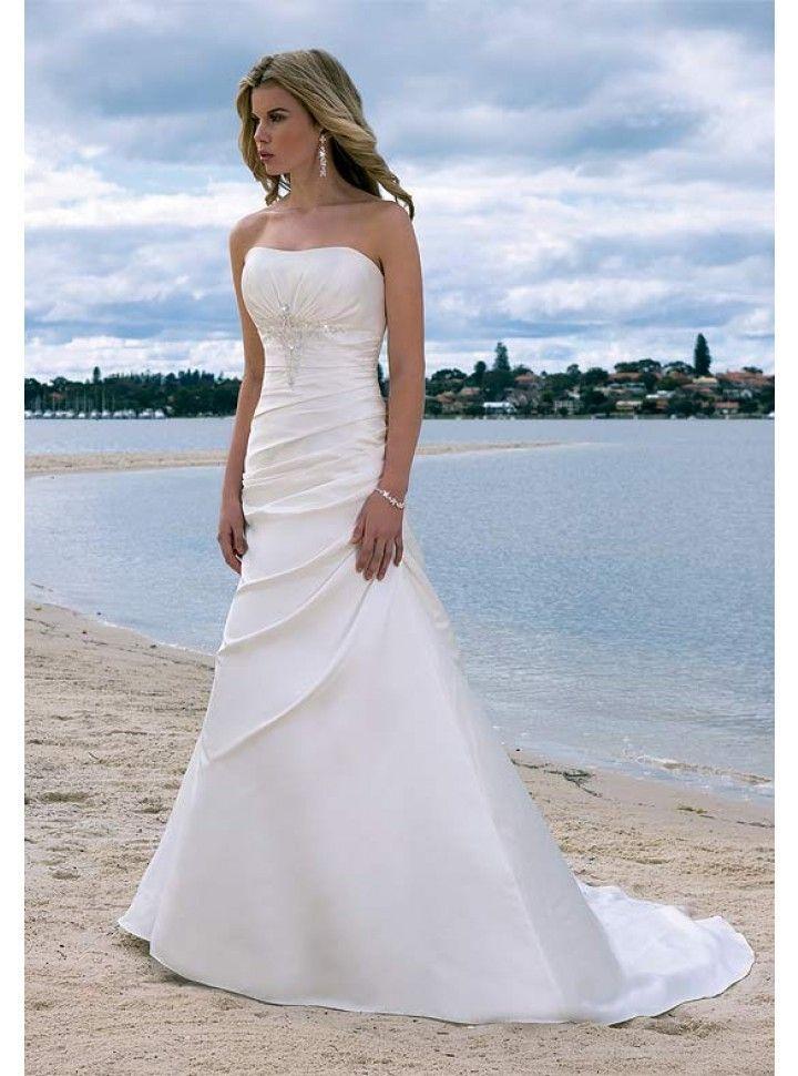 Hochzeit - Draped Strapless Chapel Train A-line Wedding Dress