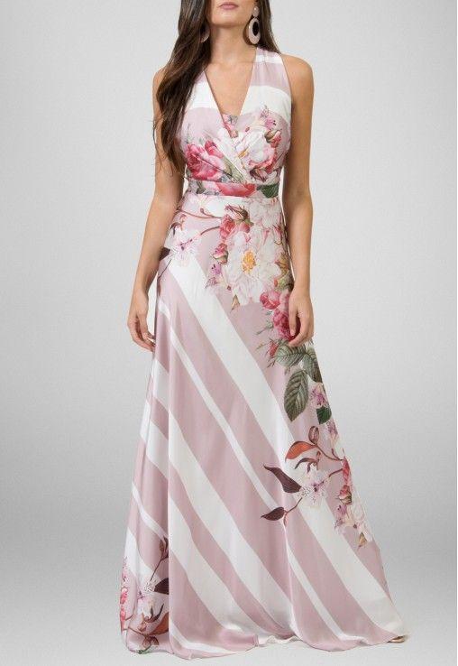Vestido longo estampado para casamento de dia