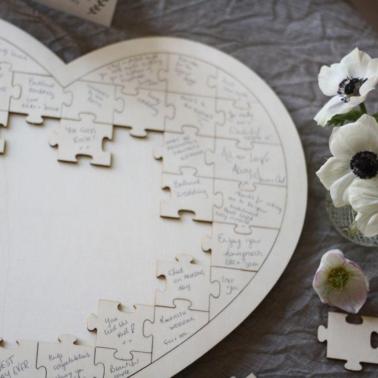Свадьба - Wooden Heart Jigsaw Puzzle Wedding Guest Book