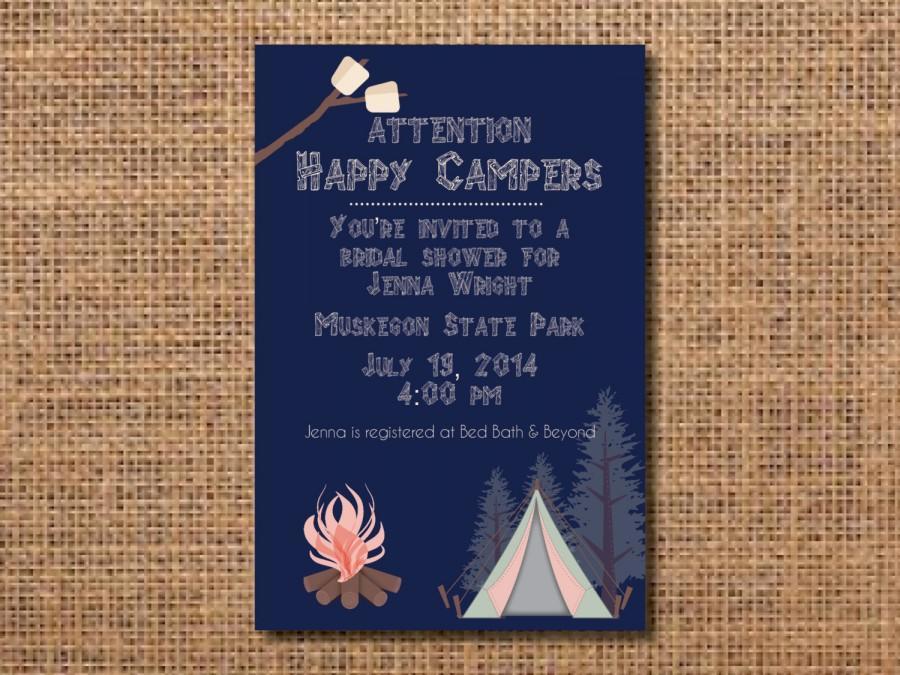 Mariage - camping invitation, invitation for bridal shower camping, glamping shower, glamping party