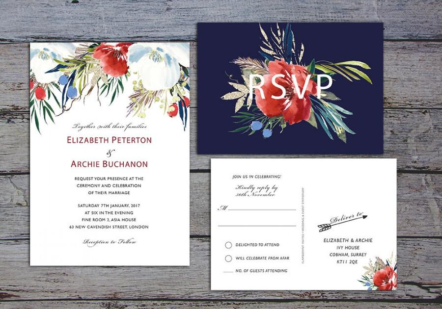 Wedding - WINTERBERRY Suite - Printable Wedding Invitation, RSVP & Details Card - Winter Florals by Flamboyant Invites
