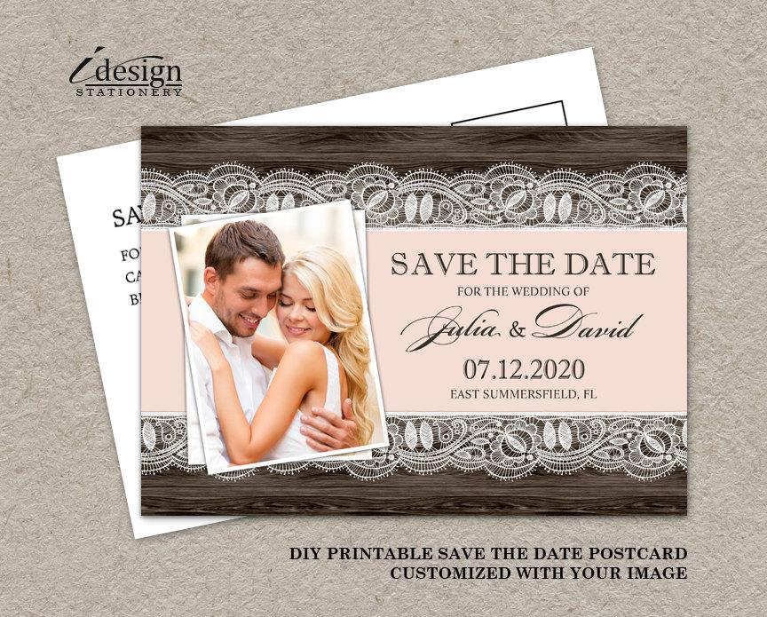 Wedding - DIY Printable Blush Pink Rustic Photo Save The Date Postcard, Rustic Wedding Save The Date Photo Cards, Photo Save The Date Postcards