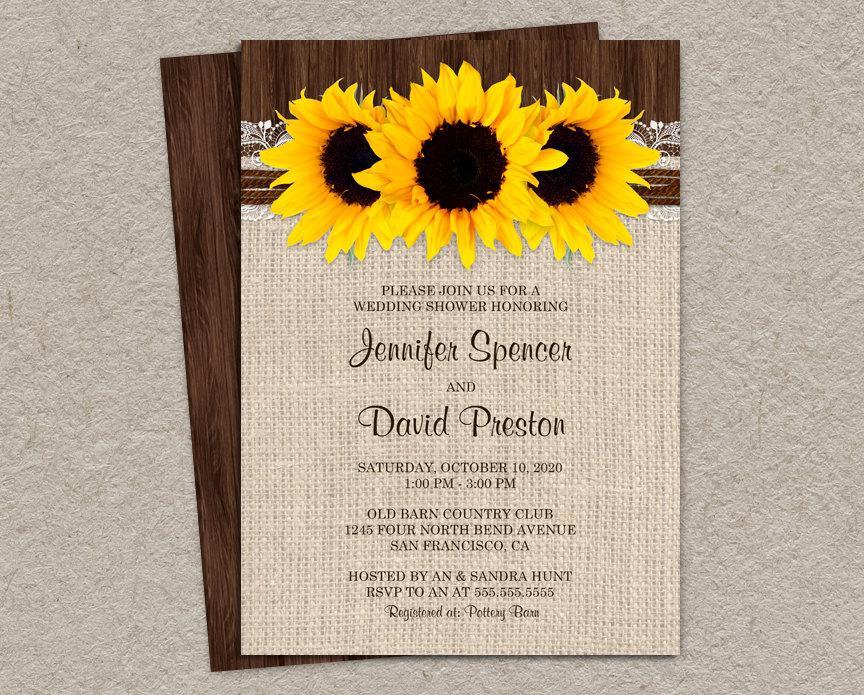 Wedding - DIY Printable Rustic Sunflower Wedding Shower Invitation, Sunflower Couples Shower Invites, Rustic Wedding Shower Invitation Cards
