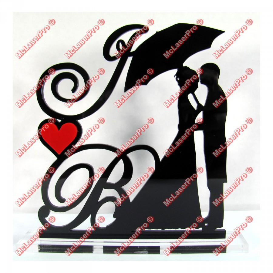 Mariage - Custom Wedding Silhouette Cake Topper With 2 Initials, a Heart, your choice of colors/fonts and a FREE base for display