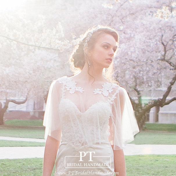 زفاف - Wedding Lace Cape #17, Lace Bolero, Lace Cape, Bridal Lace Cover Up, Wedding lace bolero, Wedding Bolero