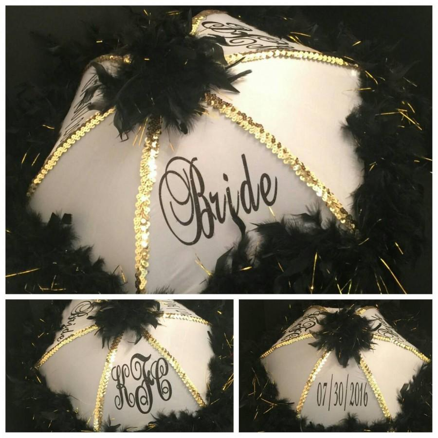 Hochzeit - Authentic New Orleans Traditional Second line umbrella, Mardi Gras, Wedding Second line Umbrella, Black, White and Gold (Bride Secondline)