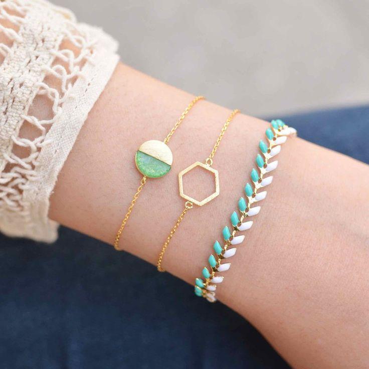 Свадьба - Majolie - Bracelet Hexagone Or