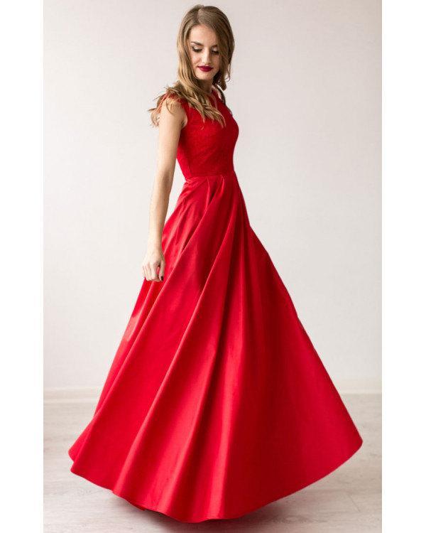 Свадьба - Formal Floor Length Red Dress Lace Top Sleeveless Wedding Dress Bridesmaid Dress Red Prom Dress