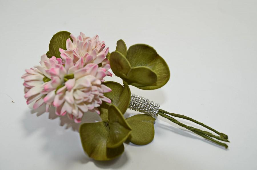 Düğün - Wedding Pink Flower Four-leaf Clover Bridal Brooch Bouquet, Fashion Bridesmaid Brooch, Groom's Boutonniere, Anniversary Gift, Custom Groom