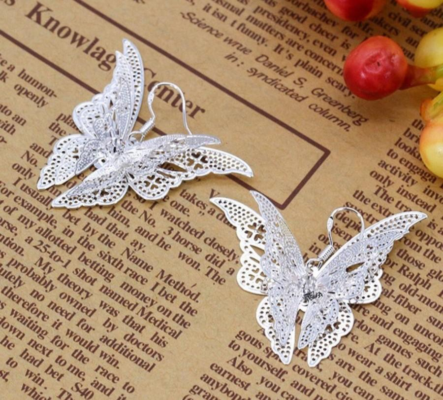 Hochzeit - Em's Silver 925 Earrings, Silver Earrings, Butterfly Earrings, Gift For Her, Butterfly Silver 925 Earrings