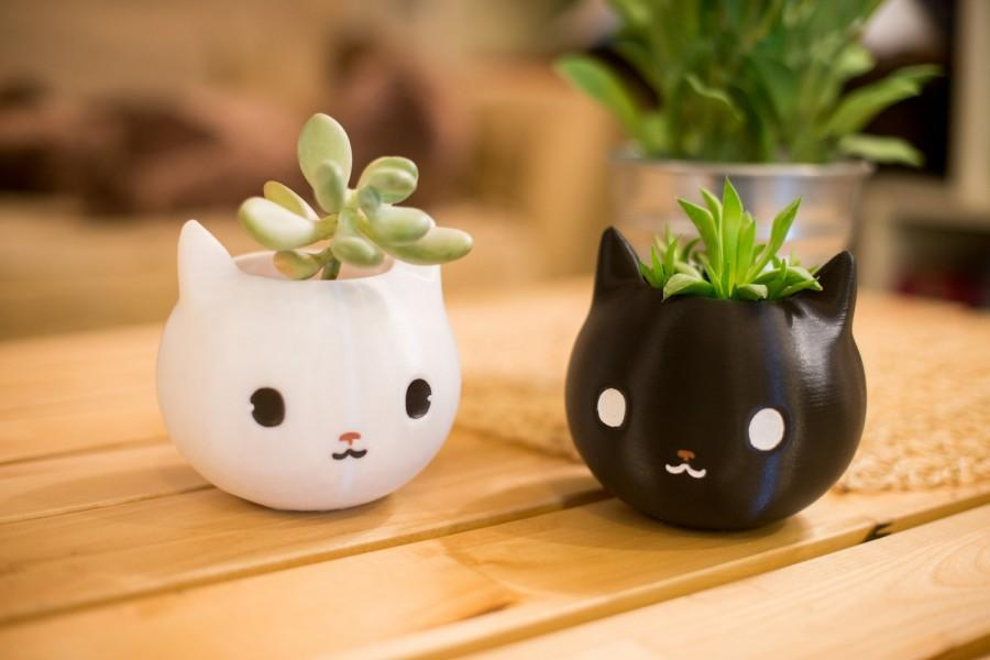 Düğün - Cat Planter, 3d Printed, Kitty Planter, Kitty, Animal Planter, Mothers Day Gifts, Cute, Adorable, Cat, Womens Gift, Cat Lover Gift