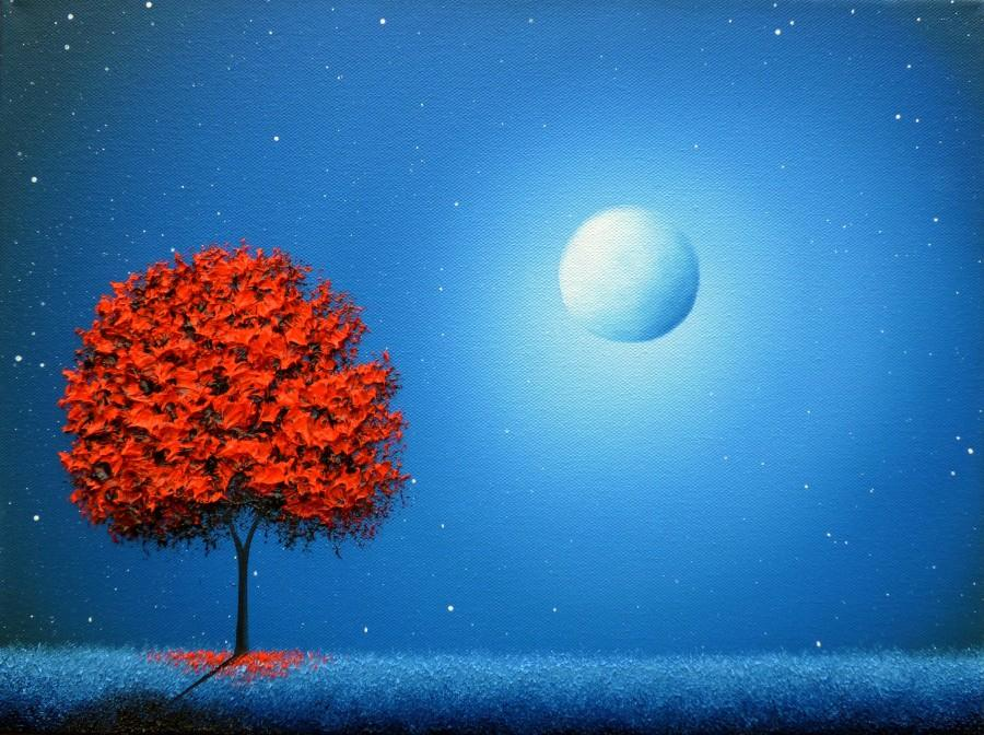 Düğün - Blue Nightscape ORIGINAL Oil Painting, Red Tree Painting, Textured Tree, Whimsical Fairytale Painting, Starry Sky Moon Landscape Art, 12x16