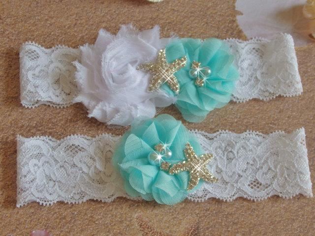 Mariage - Light Aqua Beach Wedding Garter, Starfish Bridal Garter, White or Ivory Lace Single Keepsake or Garter Set, Destination Wedding Bridal