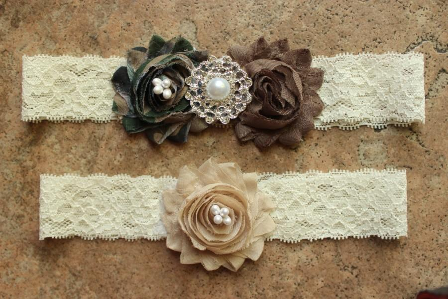 Düğün - Camo Garter Set Army - Camouflage Wedding Garters, Military Wedding Garter Set Camoflauge Wedding, Army Camo Wedding Desert Camo Garter Set
